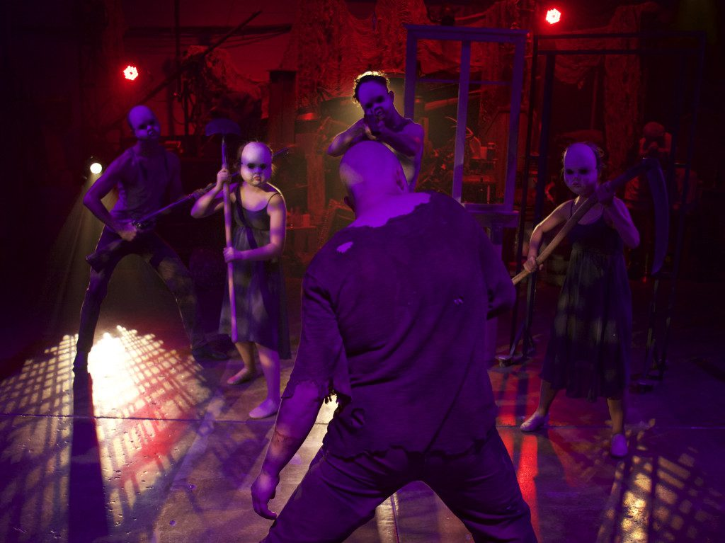 Production image from BRIDE OF FRANKENSTEIN (2015) in Salt Lake City. Immersive theatre's flexible definition.